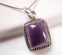 Amethyst Rectangle with Rope Style Accents 925 Sterling Silver Pendant - $149,00 MXN