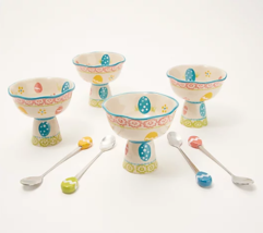 Temp-tations Egghunt Set of 4 Parfait Ice Cream Cup Bowls Dish & Spoons ... - $29.99