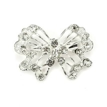Vintage Silvertone Open Bow Design With Clear Rhinestone Accents Pin Brooch - $14.54