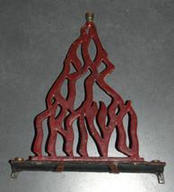 Judaica Menorah Hanukkah Vintage Israel Flame Nes Gadol Bronze Red Signed KL  image 4