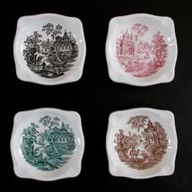 La Cartuja De Sevilla Ashtrays Set Of 4 Vintage Asian Scenes Transferware - $49.49