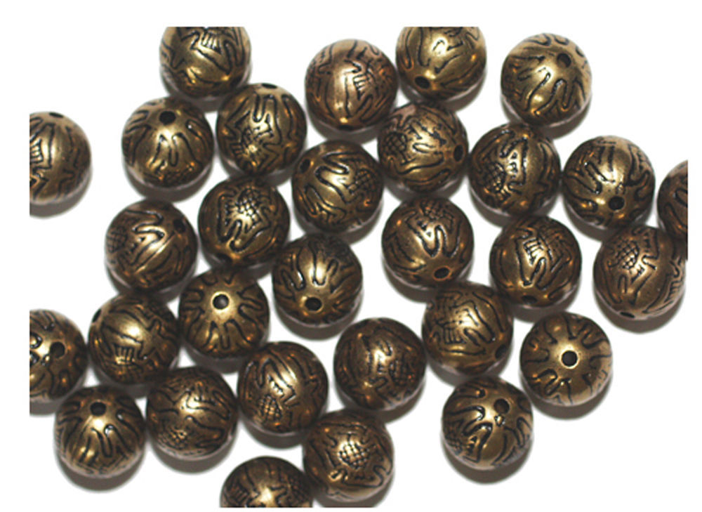 Primary image for 10mm Round Tudor Flower Round Antiqued Goldtone Metalized Metallic Beads