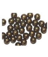 10mm Round Tudor Flower Round Antiqued Goldtone Metalized Metallic Beads - $6.47