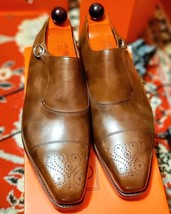 Handmade Men's Brown Leather Heart Medallion Monk Strap Oxford Leather Shoes image 1