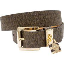 Michael Kors Women's MK Logo Premium Faux Leather Belt Hamilton Lock 553305 image 7
