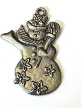 Snowman Fine Pewter Ornament - Approx. 1 3/4 Inches Tall (T204) image 2