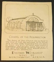 1944 Chapel of the Ressurection Divine Worship Northwest Africa Booklet ... - $7.91