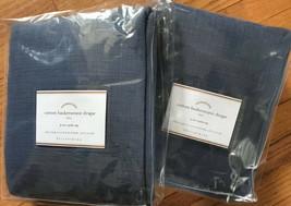 Pottery Barn Set 2 Cotton Basketweave Drapes Ink Navy Blue 50x84L Curtains Pair - $205.31
