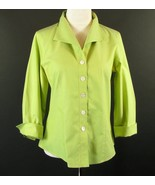 COLDWATER CREEK Size M 8 10 Green No-Iron Cotton Blouse 3/4 Sleeves - $18.99