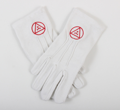 Masonic Regalia White Gloves with Navy Blue Embroidered Square and Compa... - $25.00