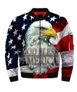 2019 God bless america fashion USA flag eagle Bomber jacket size S-5XL - $81.99