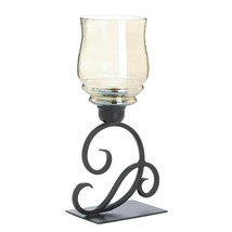 Tabletop Lantern, Decorative Iridescent Hurricane Metal Glass Lantern Ca... - £25.85 GBP