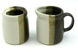 Vintage McCoy Pottery Sandstone Creamer & Sugar Jar 1414 USA Tricolor St... - $34.60