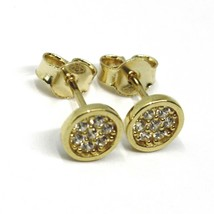 18K YELLOW GOLD MINI BUTTON EARRINGS WITH CUBIC ZIRCONIA, DISC FLOWER, 6 MM image 2