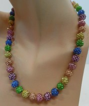 "Betsey Johnson Pastel Color Glitter Ball Beaded Necklace BNWT $58 Adj 18"" - $44.55"