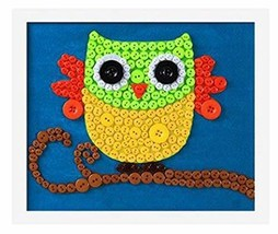 PANDA SUPERSTORE Nice Owl DIY Button Painting Mosaic Craft for Kids
