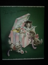 Kitten Cats Pop-Up Gift Box Vintage Birthday Card - £7.67 GBP