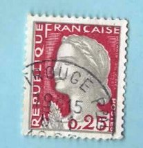 France Used Postage Stamp - 1960 New Marianne - Scott #968 - $1.99
