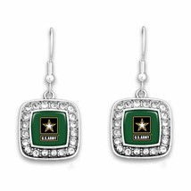 U.S. Army Crystal Square Earrings with Army Star Logo - $19.75