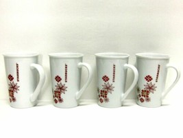 STARBUCKS COFFEE COMPANY LOT (4) 12 oz TALL WHITE HOLIDAY FLORAL CUPS/MUGS  - $54.31
