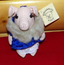 "Russ Berrie Personality Piggs 7"" Plush Lady Alicia Von Pig in Satin & Lace Thong - $7.69"