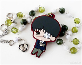 Ken Beaded Necklace, Beaded, Off White, Olive Green, Anime Jewelry - $25.00