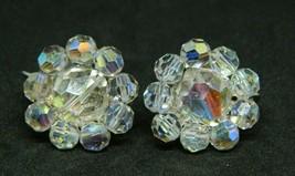 Coro Clear Aurora Borealis Crystal Bead Beaded Silver Tone Clip Earrings... - $19.79