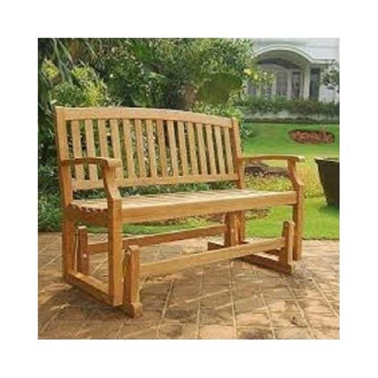 Teak Wooden Glider Bench 4 Ft Solid Wood Outdoor Patio Deck Garden Glider Bench