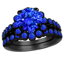 Round Cut Blue Sapphire Black Gold Plated 925 Silver Engagement Bridal Ring Set - £78.25 GBP