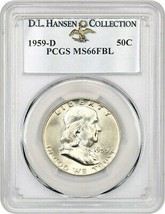 1959-D 50c PCGS MS66 FBL ex: D.L. Hansen - Beautiful Gem - Franklin Half... - $659.60