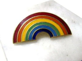PRETTY ENAMEL SMALL SCATTER PIN RAINBOW VINTAGE COLORFUL GOLD TONE ACCENTS - $14.00