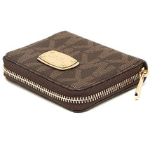 NWT Authentic Michael Kors Brown Jet Set PVC MK Logo Bifold Wallet - $53.99