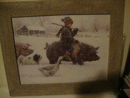 "SALE / Country new winter ""PIGGY BACK"" wall print in weathered wood fram... - $42.06"