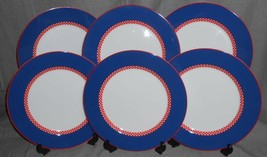 Set (7) Fitz & Floyd CHEQUERS PLUS PATTERN Dinner Plates JAPAN - $118.79