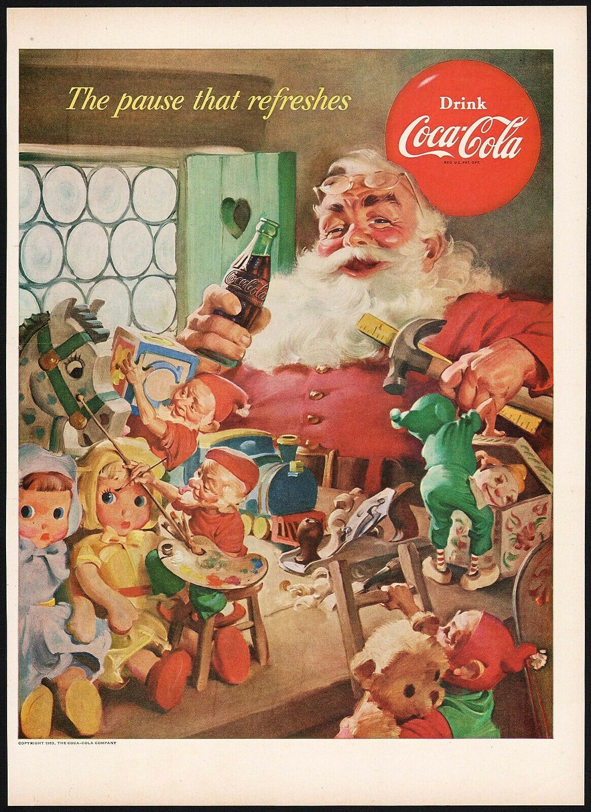 Primary image for Vintage magazine ad COCA COLA from 1953 Santa Claus with elves Haddon Sundblom