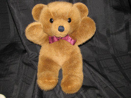 "Dakin Cuddles Vintage Teddy Bear 1979 Brown Burgundy Maroon Bow 14"" - $37.61"