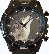 Howling Wild White Wolf Trendy Sports Style Unisex Gift Watch - $34.99