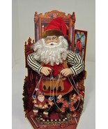 Santa Puppeteer 2 Marionettes Animated  Musical Wind Up 17 in. Tall Orig... - $9.99