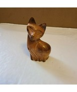 """Siamese Cat Wooden Carved Figure Figurine Unmarked 4.25"""" Tall - $21.99"""