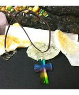 Cross Necklace  Natural Multi Colored Cats Eye Stone For Women or Men Gi... - $19.79