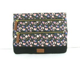 Fossil New $78 Black Blue Pink Clutch Pouch Bag Zip Top Canvas Floral Me... - $28.71