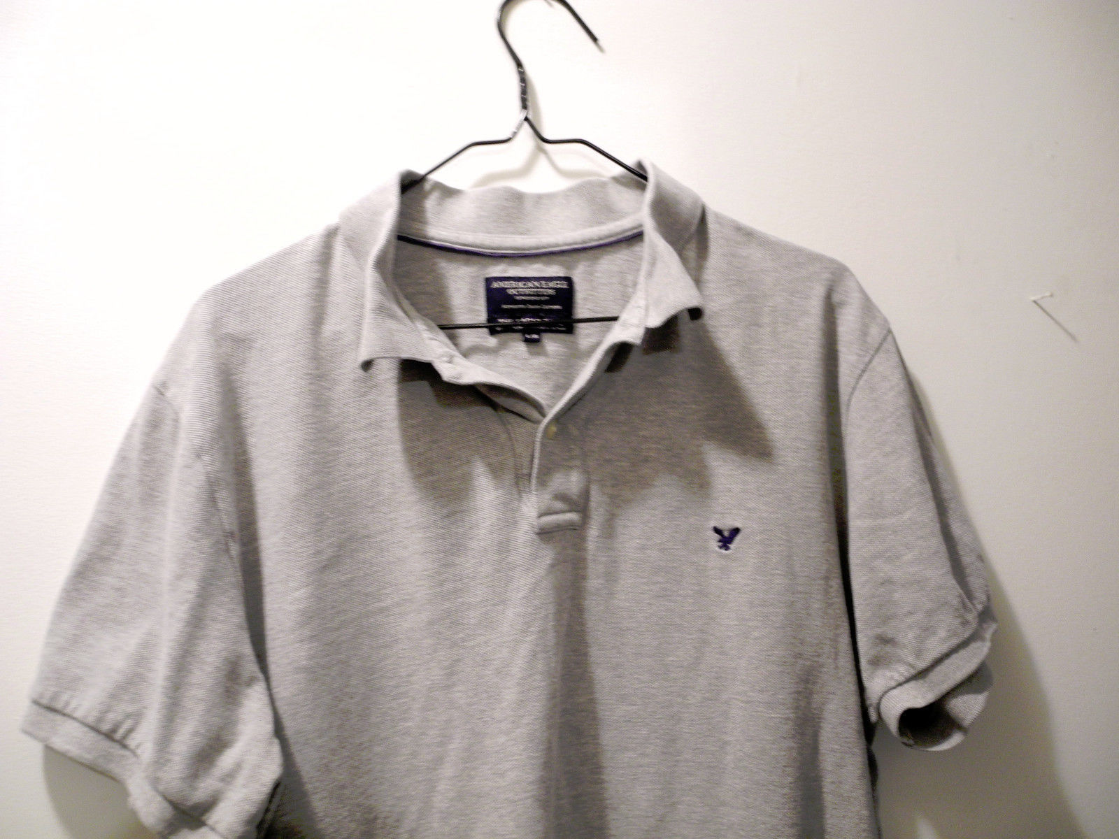 American Eagle Outfitters Gray Polo Shirt - Men's Size L - 100% Cotton