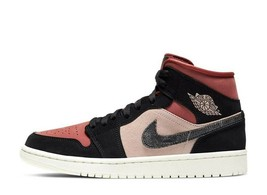 "NIKE WOMENS AIR JORDAN 1 MID ""PARTICLE BEIGE / BLACK-CANYON RUST-SAIL"" a... - $354.99"