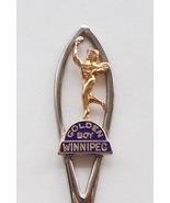 Collector Souvenir Spoon Canada Manitoba Winnipeg Golden Boy Cloisonne E... - $2.99