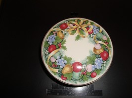 Mikasa Fruit Bouquet Round Box W/ Lid Candy Dish Trinket Box Gold Trim N... - $16.37