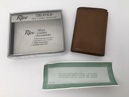 Vintage Wallet Calfskin Leather Billfold Tri Fold 70s Rico Brown USA Unused - $26.68