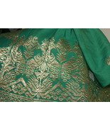 Old Metallic Gold Emerald Green Embroidery Brocade Wedding Songket Saron... - $284.99