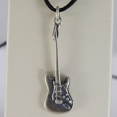 SILVER 925 PENDANT BURNISHED SHAPED ELECTRIC GUITAR MADE IN ITALY
