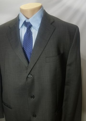 PEERLESS MAN MEN'S SPORT COAT CHARCOAL NAILHEAD 3 BUTTONS WOOL BLEND no VENT 52R