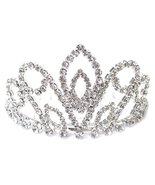 Clear Crystal Tiara Crown Small Bun Sized Silver Tone Bridal Flower Girl... - $14.73